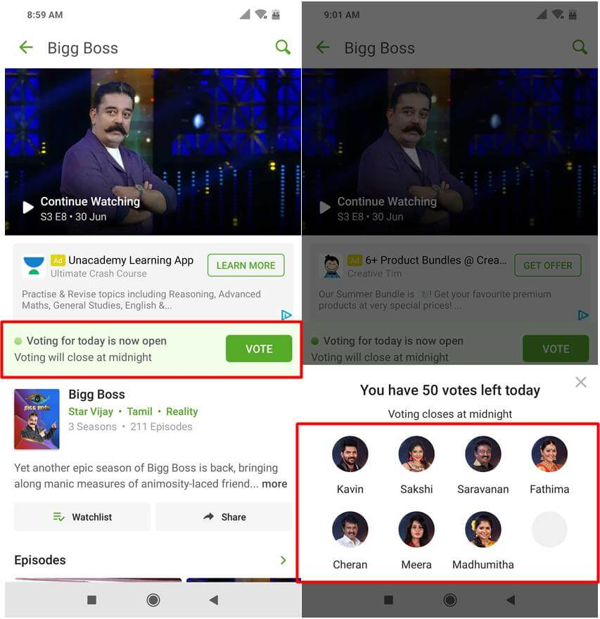 Bigg Boss Hotstar Steps to vote season 3 Malayalam